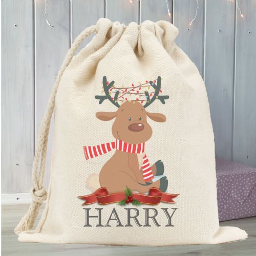 Personalised Santa Sack N2 - Reindeer with antler lights